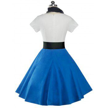 Retro Poodle Print High Waist Skater Dress - BRIGHT BLUE S