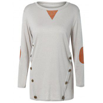 Button Longline T-Shirt with Elbow Patch - LIGHT GRAY LIGHT GRAY