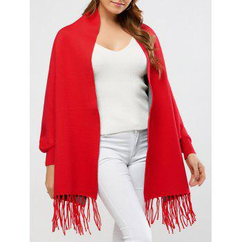 Knitted Fringe Wool Blend Cape - RED RED