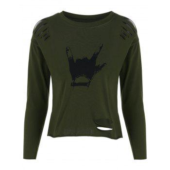 Hand Gesture Ripped Tee - ARMY GREEN ARMY GREEN