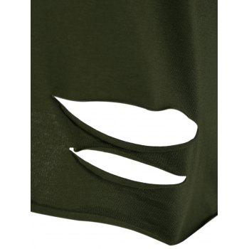Hand Gesture Ripped Tee - ARMY GREEN ONE SIZE