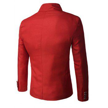 Stand Collar Double-Breasted Solid Color Long Sleeve Men's Blazer - RED L