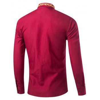 Leaf Embroidered Long Sleeve Shirt - WINE RED 2XL