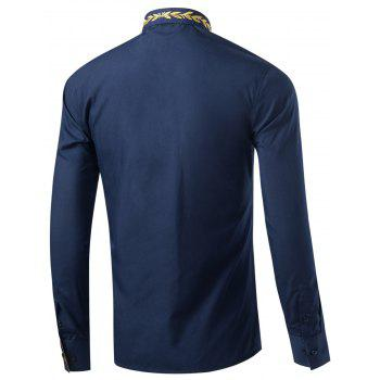 Leaf Embroidered Long Sleeve Shirt - DEEP BLUE L