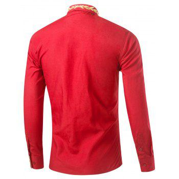 Leaf Embroidered Long Sleeve Shirt - RED XL