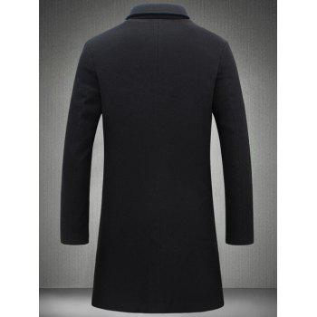 Single Breasted Plus Size Longline Woolen Coat - BLACK M