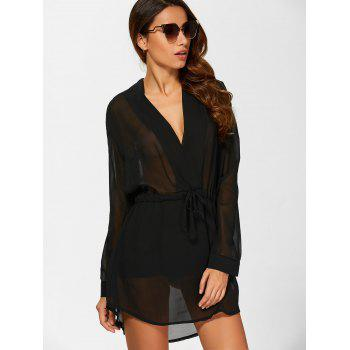 See Through Chiffon Casual Short Shift Dress with Sleeves - BLACK L