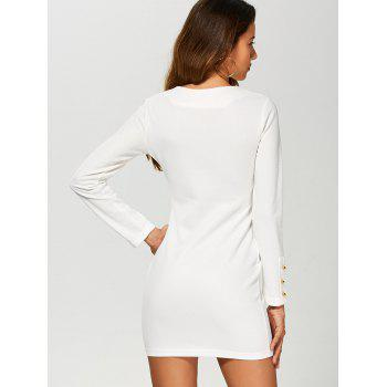Bodycon Long Sleeve Mini Dress - WHITE S