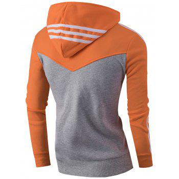 Zipper Up Stripe Bloc de Couleur Sweat à Capuche - Orange L