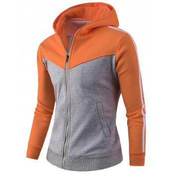 Zipper Up Stripe Bloc de Couleur Sweat à Capuche - Orange 3XL