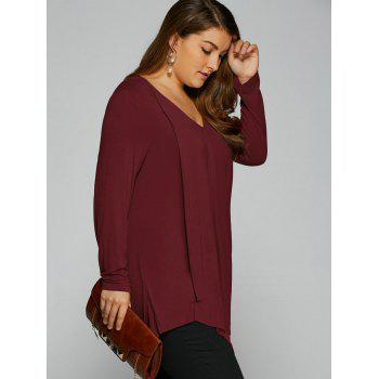 Plus Size Long Sleeve Asymmetrical T-Shirt - WINE RED XL