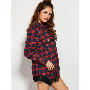 Plaid Tiger Embroidered Shirt - CHECKED S