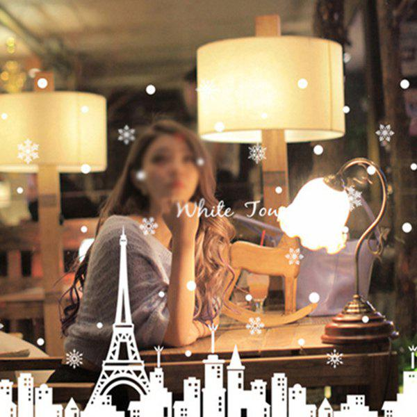 Removable White Town  Merry Christmas Window Wall StickersHome<br><br><br>Color: WHITE
