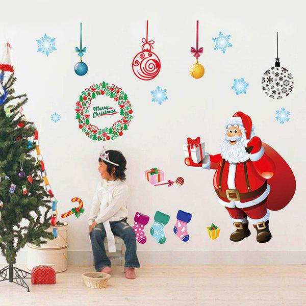 Removable Colorful Christmas Santa Showcase Window Wall Stickers removable colorful christmas penguins children s room wall stickers