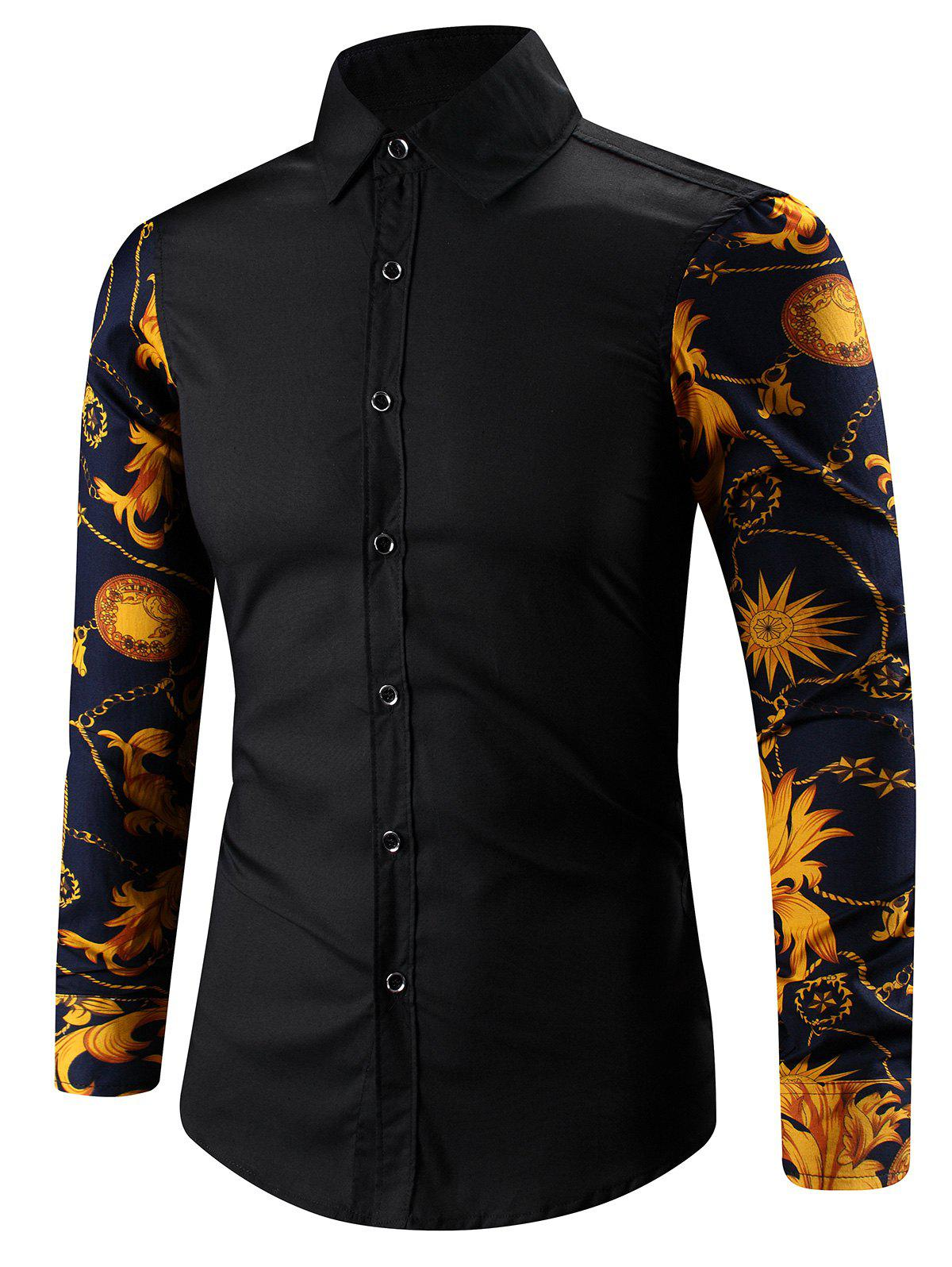3D Abstract Floral Print épissage Turn-Down Collar Shirt - Noir 5XL