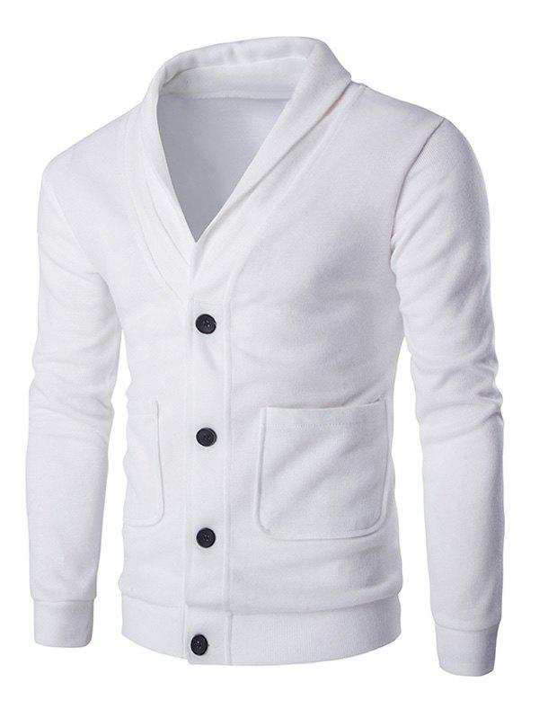 Long Sleeve Button Up Shawl Collar Cardigan - WHITE 2XL