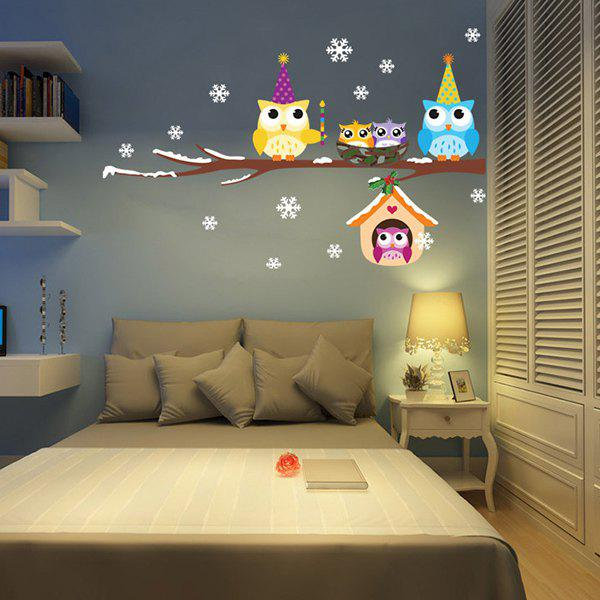 Removable Merry Christmas Cartoon Owl Children's Room Wall Stickers merry christmas snowflake owl removable wall stickers for kids bedrooms