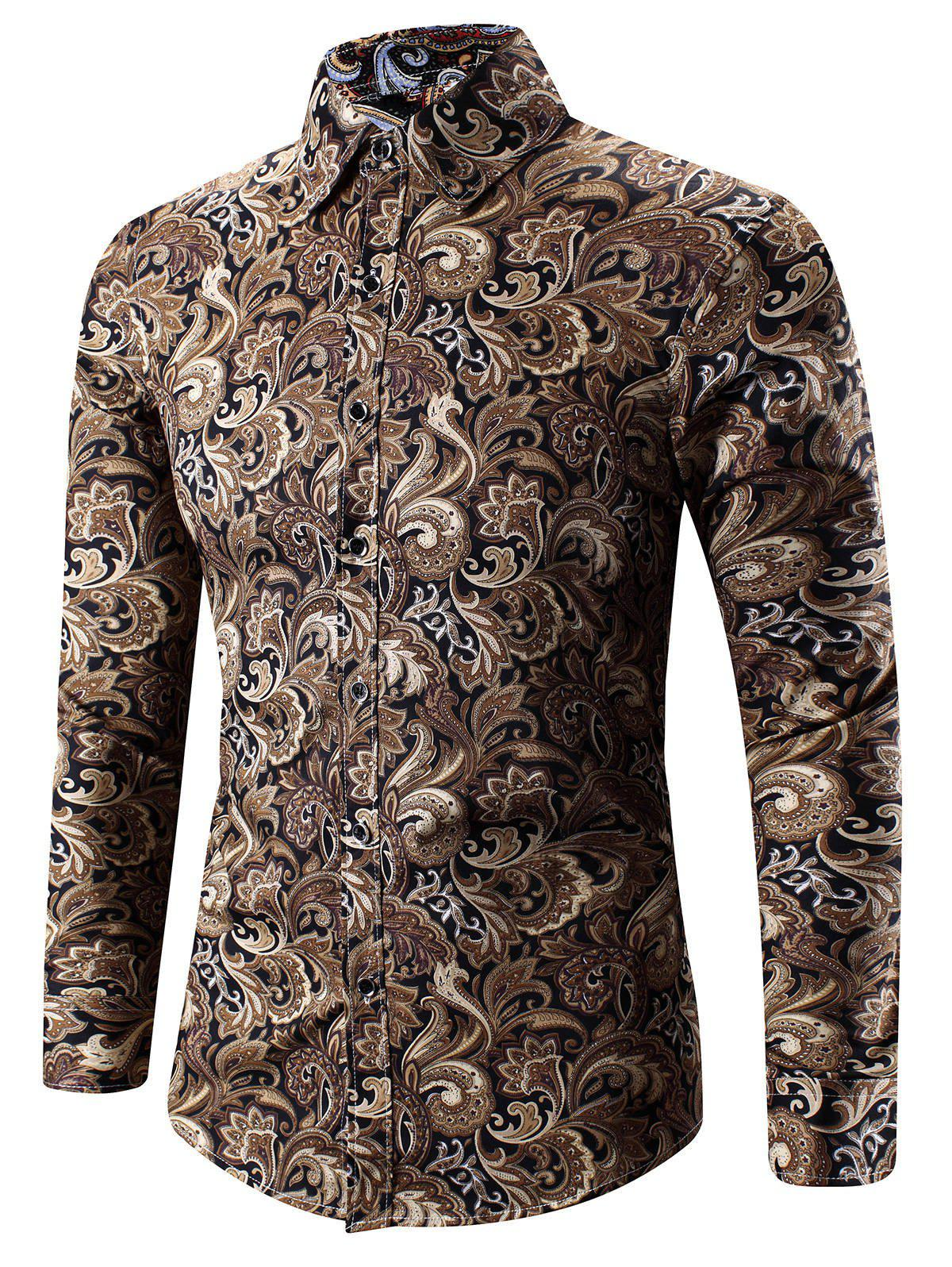 3D Paisley Print Turn-Down Collar Shirt - YELLOW 2XL