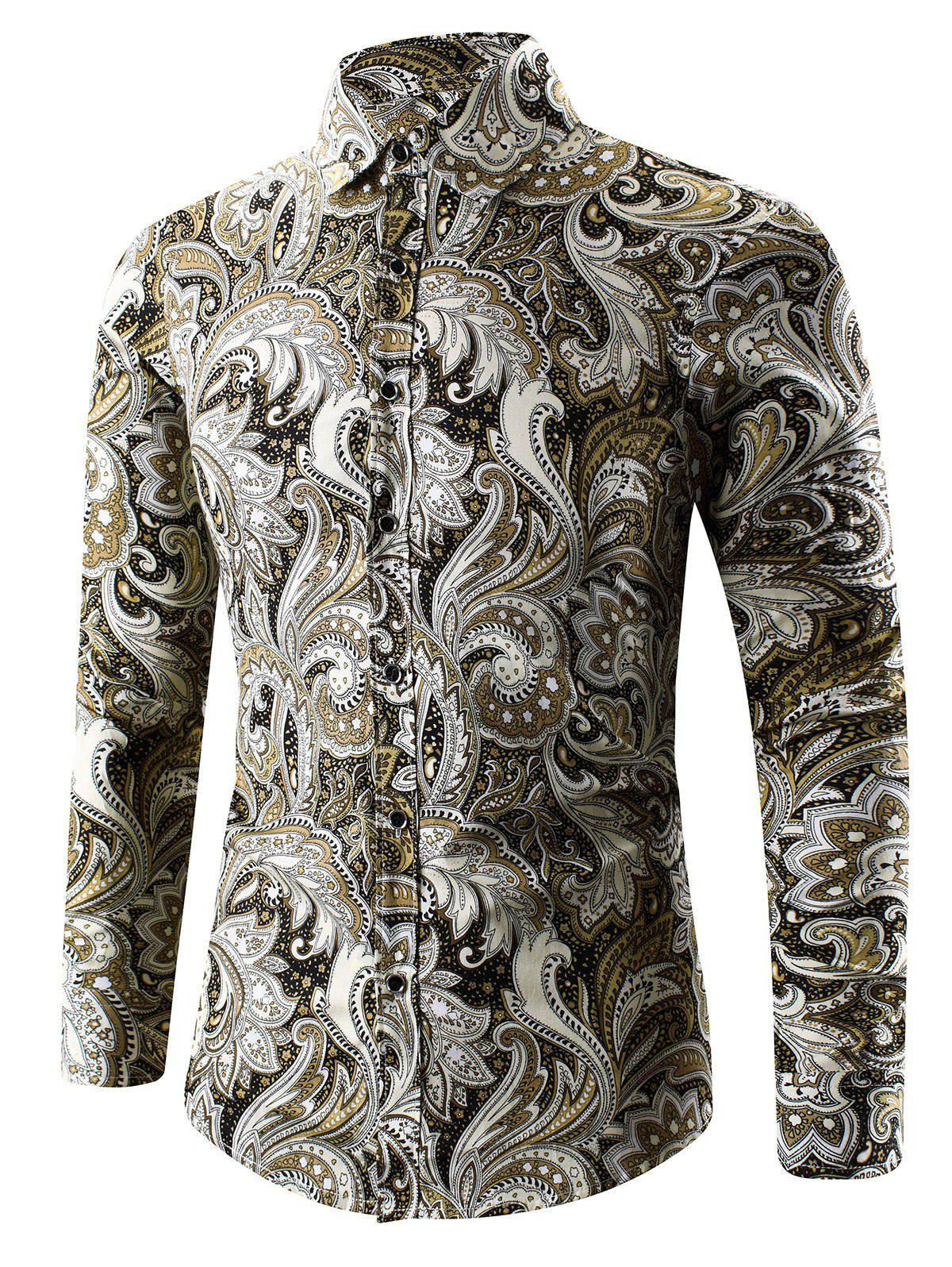 3D Paisley Printed Turn-Down Collar Shirt - YELLOW XL