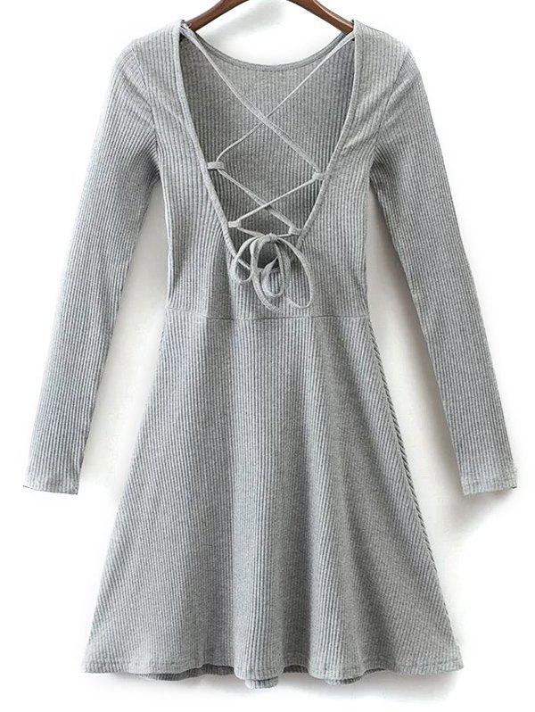 Lace Up Back Fit and Flare Dress - GRAY M