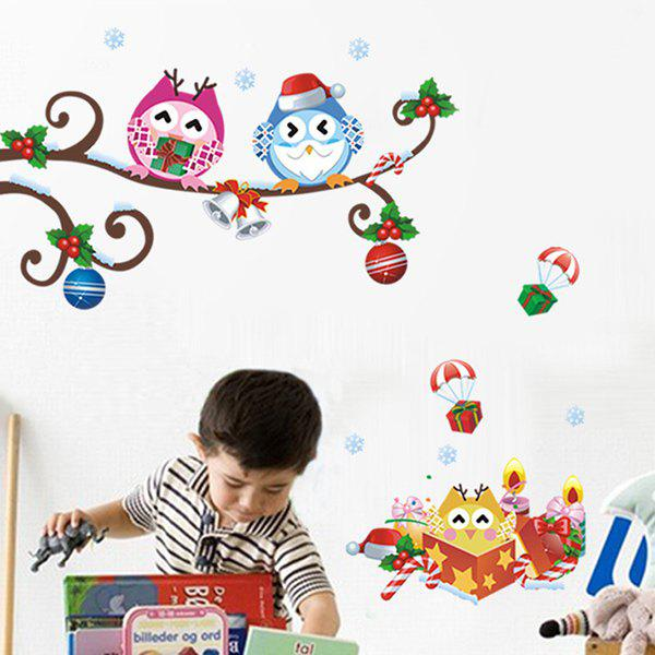 Cartoon Owl Removable Merry Christmas Kids Room Wall StickersHome<br><br><br>Color: COLORFUL