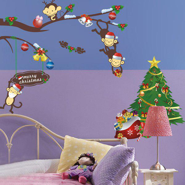 2PCS Merry Christmas Cartoon Monkey Removable Kids Room Wall Stickers removable colorful christmas penguins children s room wall stickers