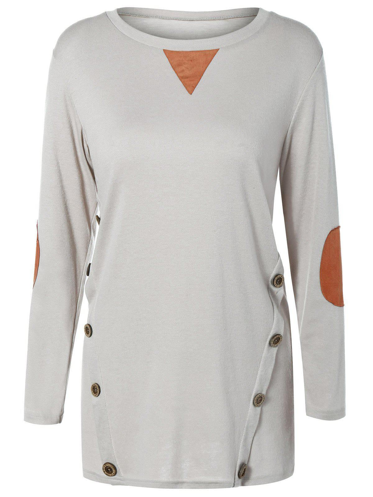 Button Longline T-Shirt with Elbow PatchWomen<br><br><br>Size: 2XL<br>Color: LIGHT GRAY