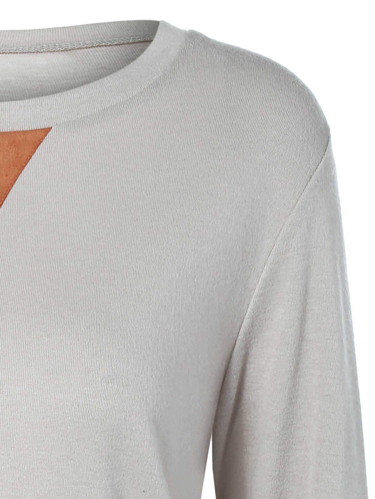 Button Longline T-Shirt with Elbow Patch - LIGHT GRAY XL