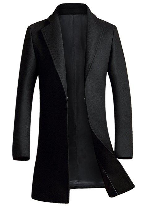 Turndown Plaine Collier unique poitrine laine Blend Coat - Noir M