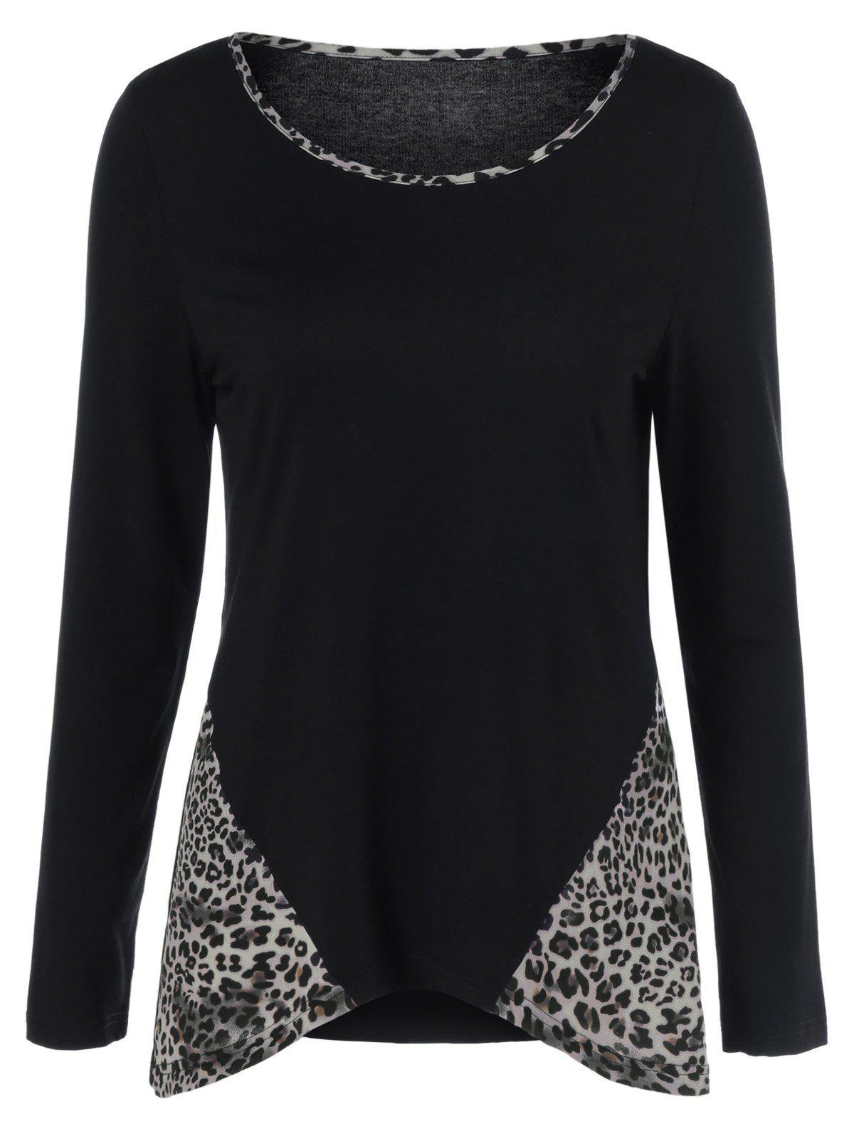 Leopard Trim Asymmetrical T-Shirt - BLACK L