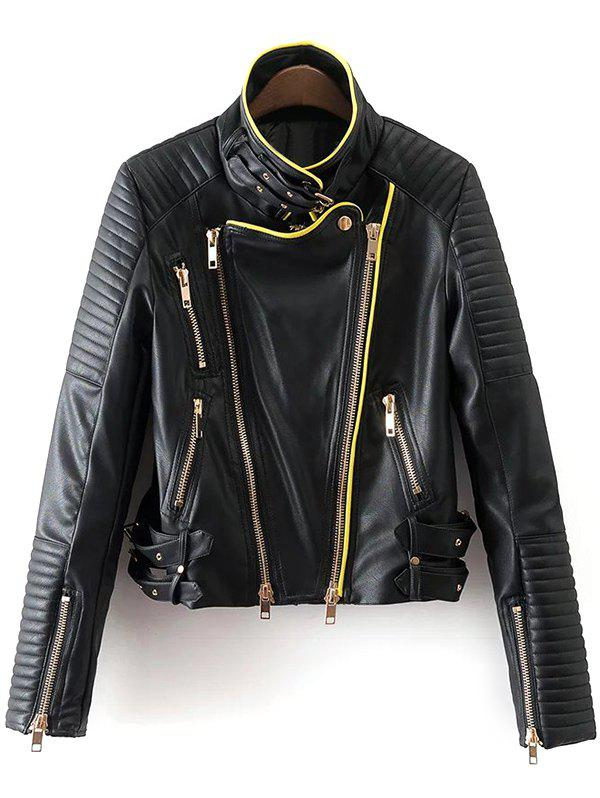 Piped PU Leather Biker Jacket - BLACK L