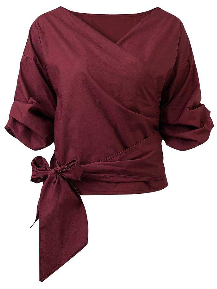 Buy Belted Puffed Sleeve Crossover Blouse WINE RED