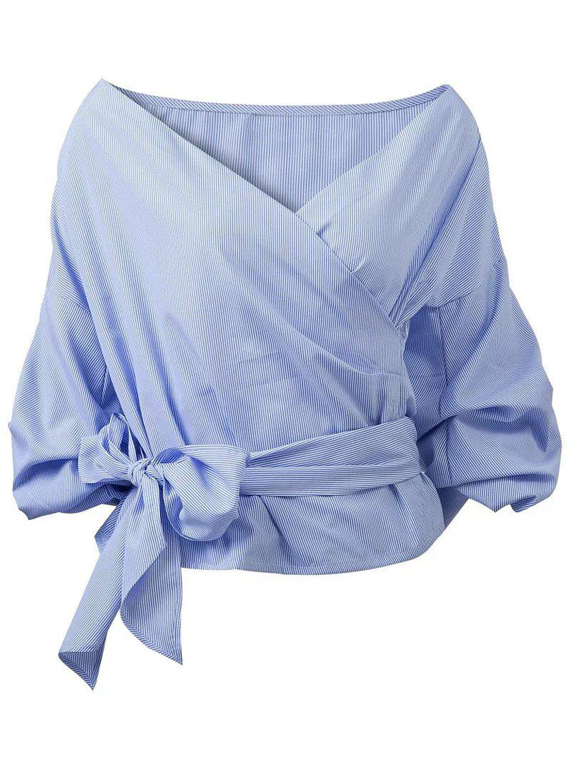 Buy Belted Puffed Sleeve Crossover Blouse BLUE