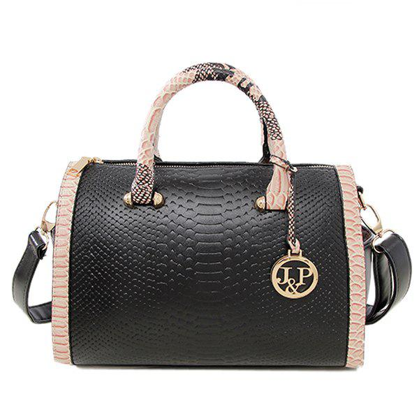 Metal Colour Spliced Embossing Tote BagBags<br><br><br>Color: BLACK