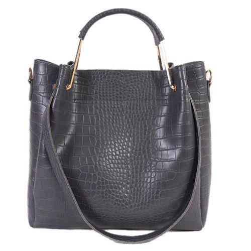 Metal Embossed Dark Colour Tote Bag dark colour metal nylon messenger bag