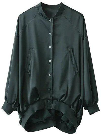 Glossy Oversized Bomber Jacket - BLACK GREEN S