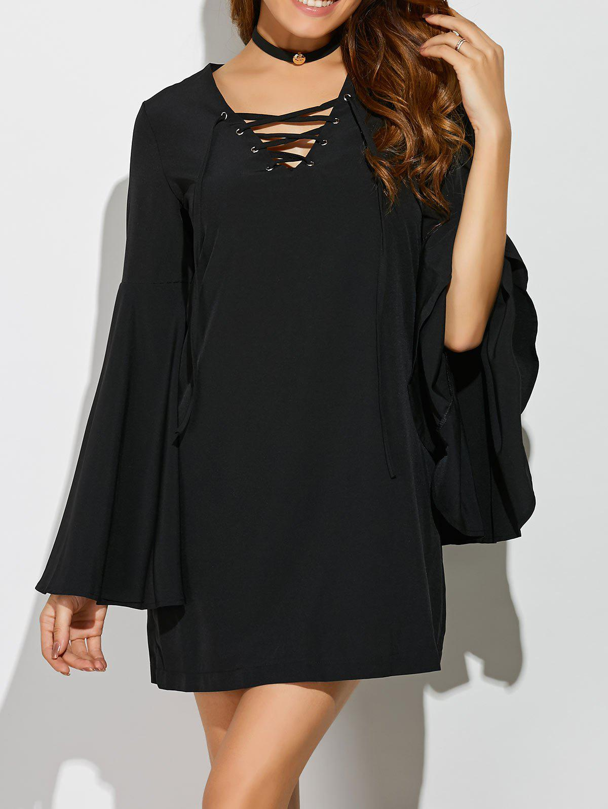Bell Sleeve Lace Up Mini Dress bell sleeve lace insert mini party dress