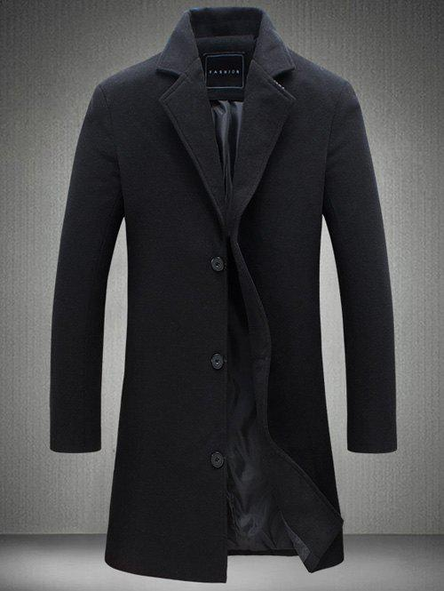 Manteau Long en Laine à Boutonnage Simple Grande Taille - Noir 2XL
