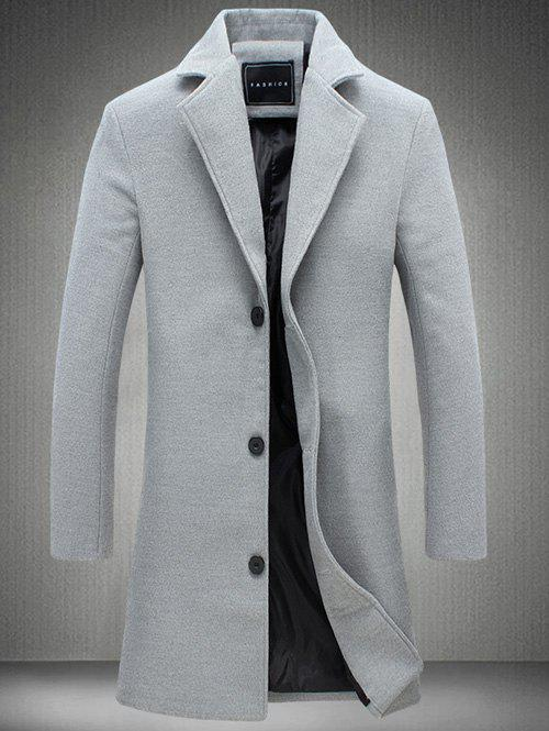 Manteau Long en Laine à Boutonnage Simple Grande Taille - gris 2XL