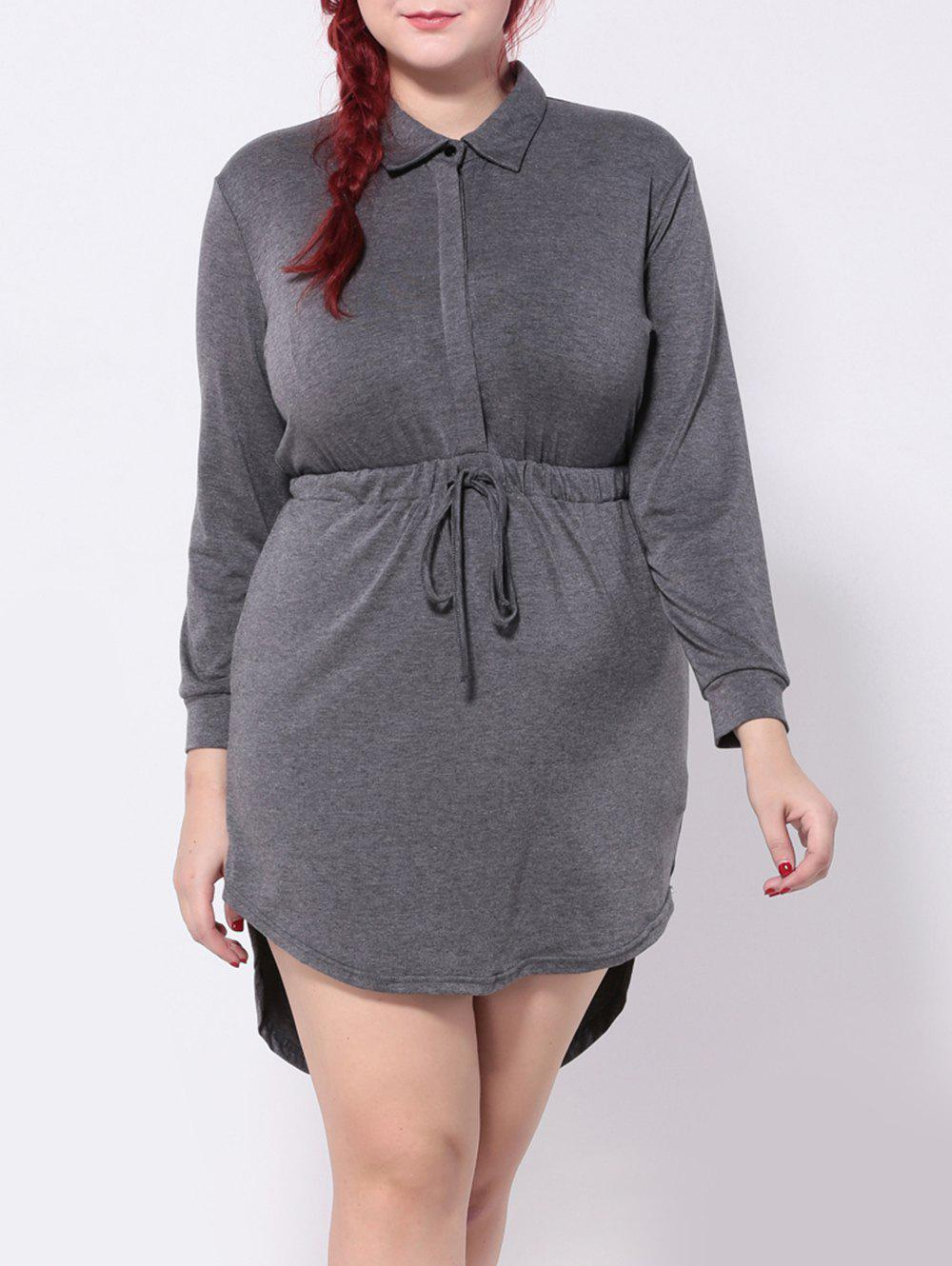 Long Sleeve Drawstring Asymmetric Dress - DEEP GRAY 5XL