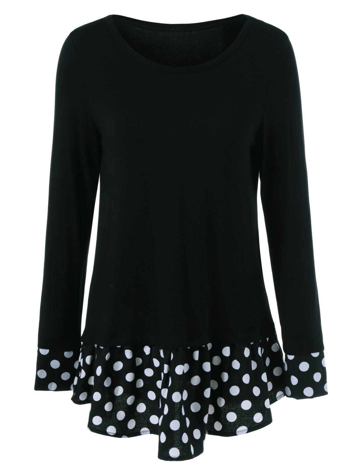 Polka Dot Patchwork Flounced T-Shirt - BLACK L