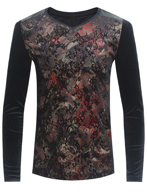 Florals Print Grid and PU-Leather Spliced Velvet T-Shirt - BLACK 5XL