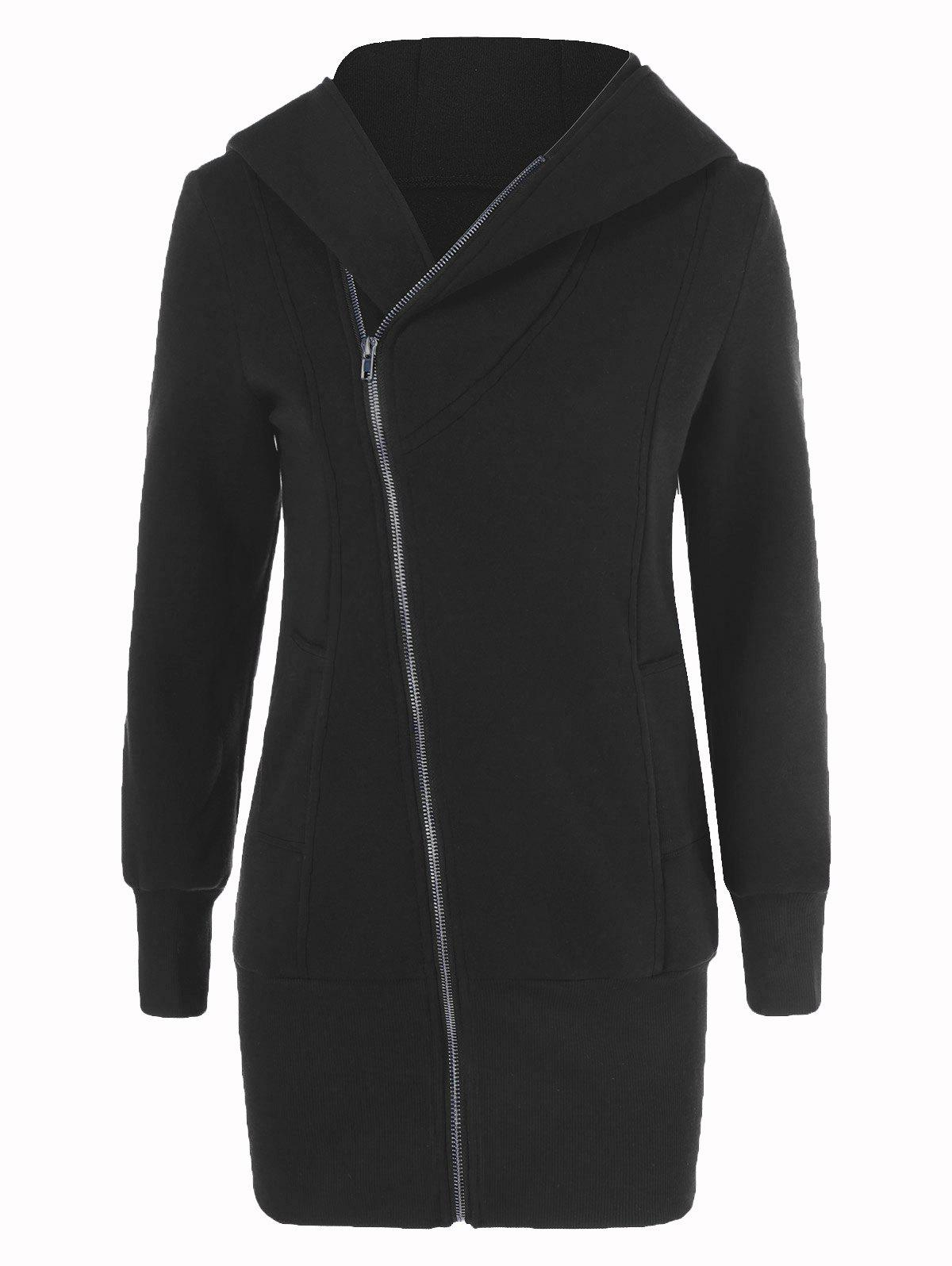 цена Inclined Zipper Long Hoodie
