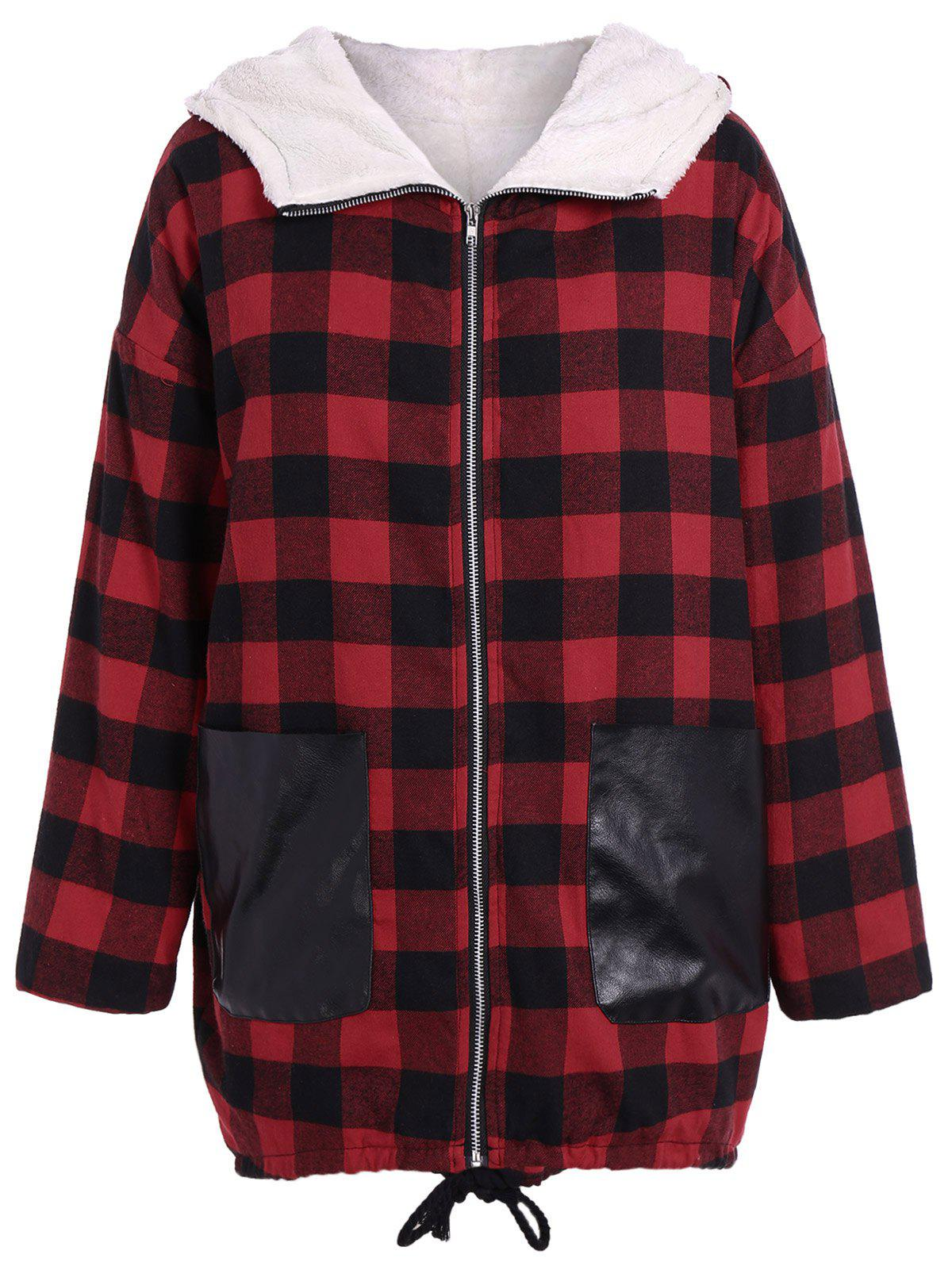 PU-Leather Splicing Hooded Plaid Coat - CHECKED 3XL