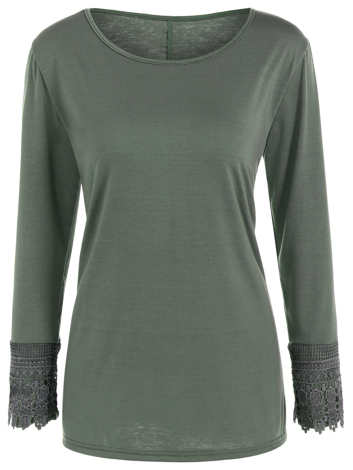 Lace Trim Long Sleeve T Shirt - ARMY GREEN L