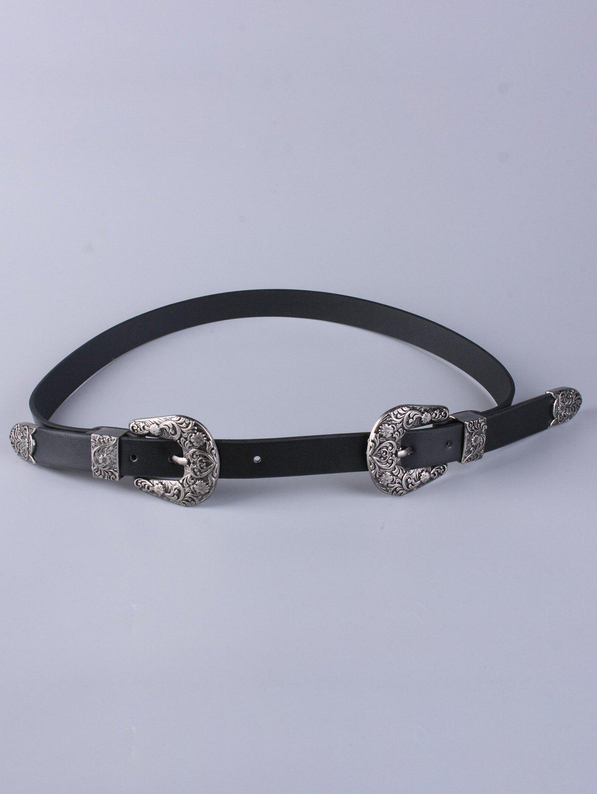 Trousers Wear Emboss Double Buckle BeltAccessories<br><br><br>Color: BLACK