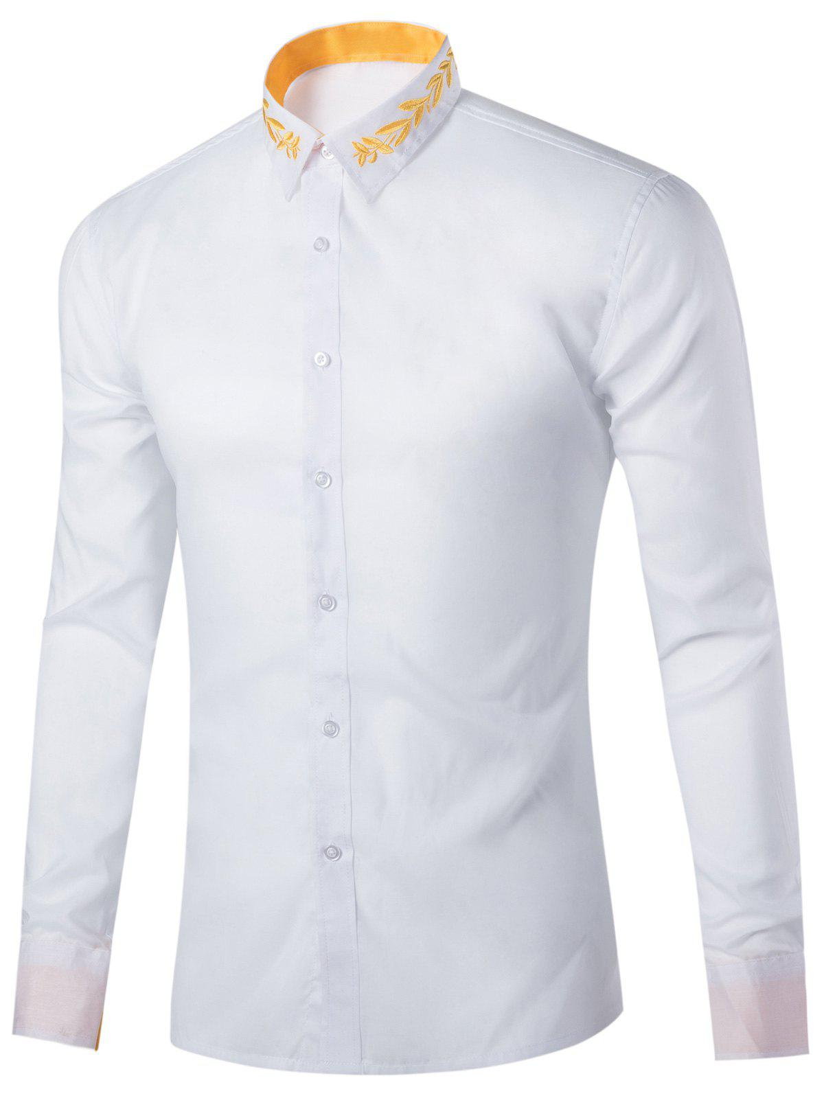 Leaf Embroidered Long Sleeve Shirt - WHITE L