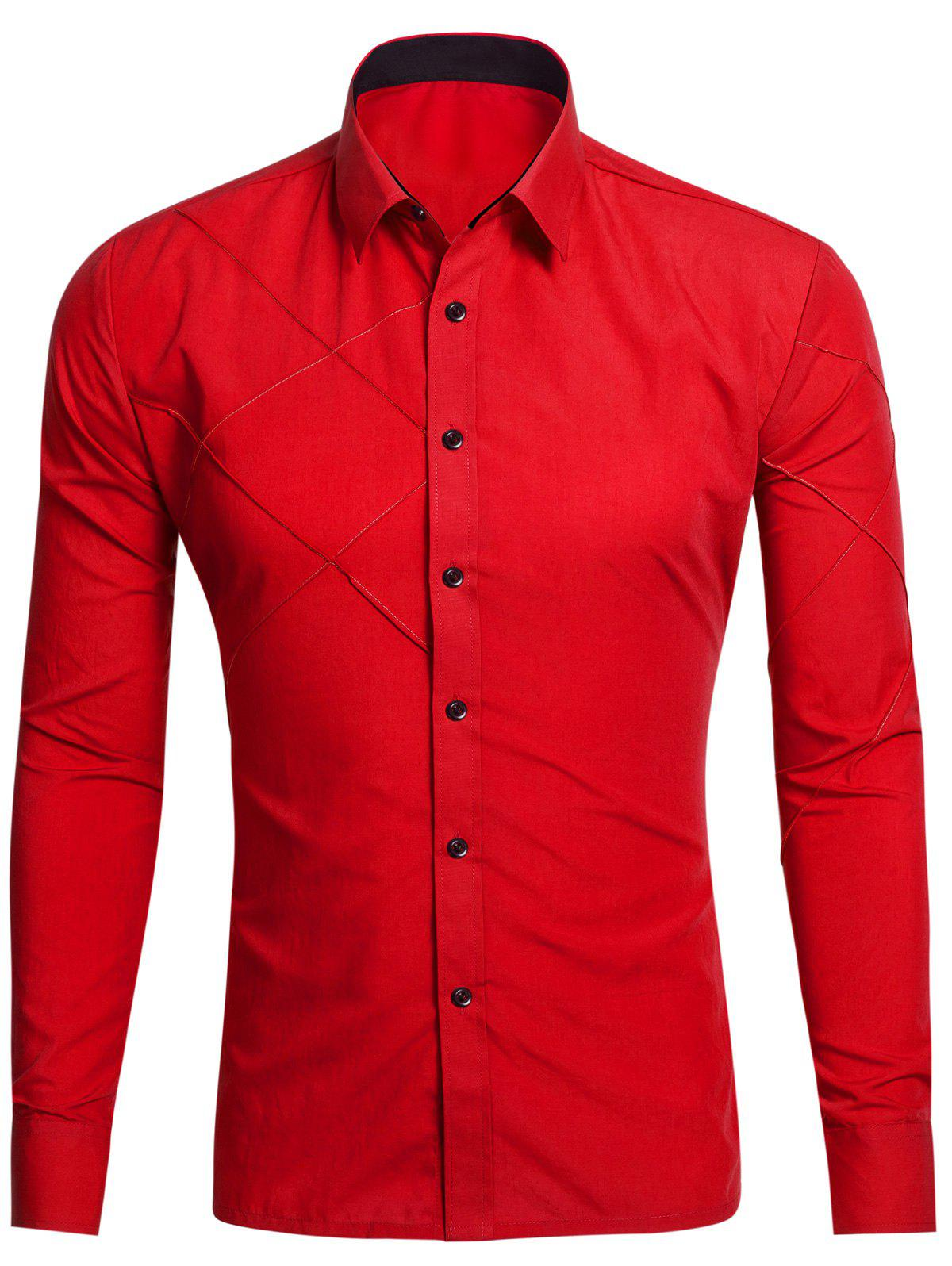 Piquez à manches longues Button Up Shirt - Rouge 2XL