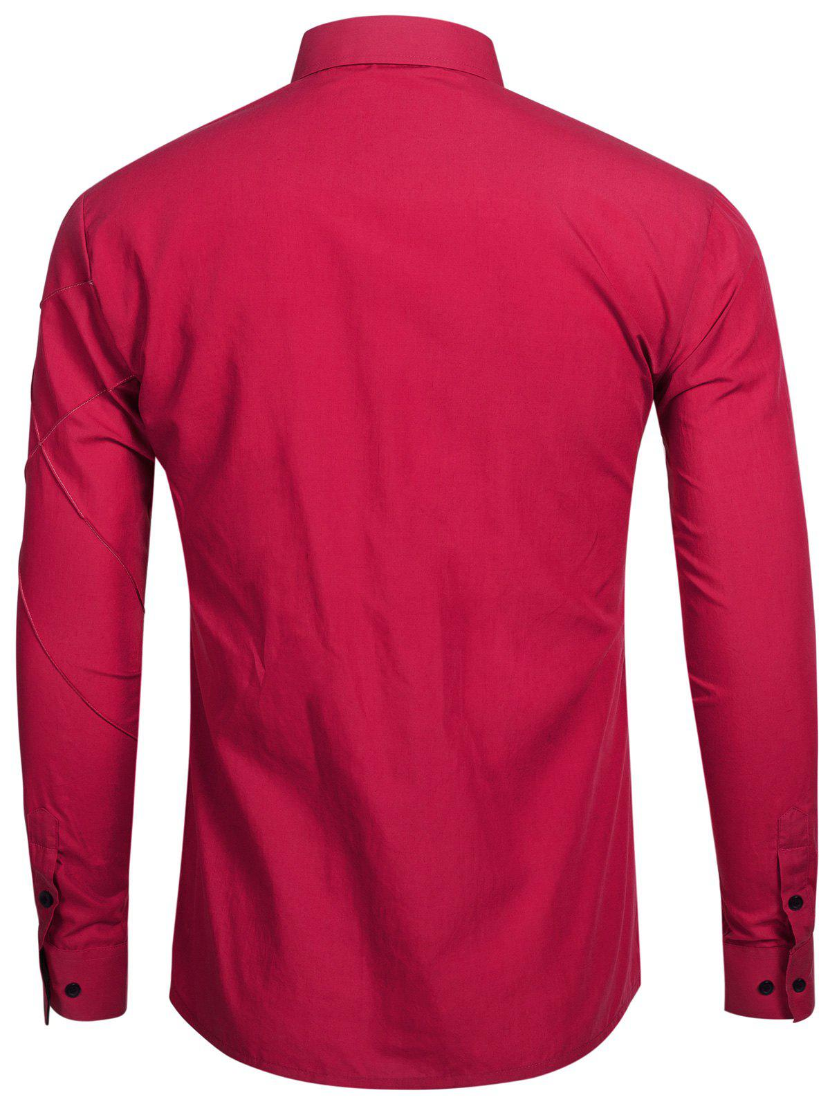 Piquez à manches longues Button Up Shirt - Rouge vineux 2XL