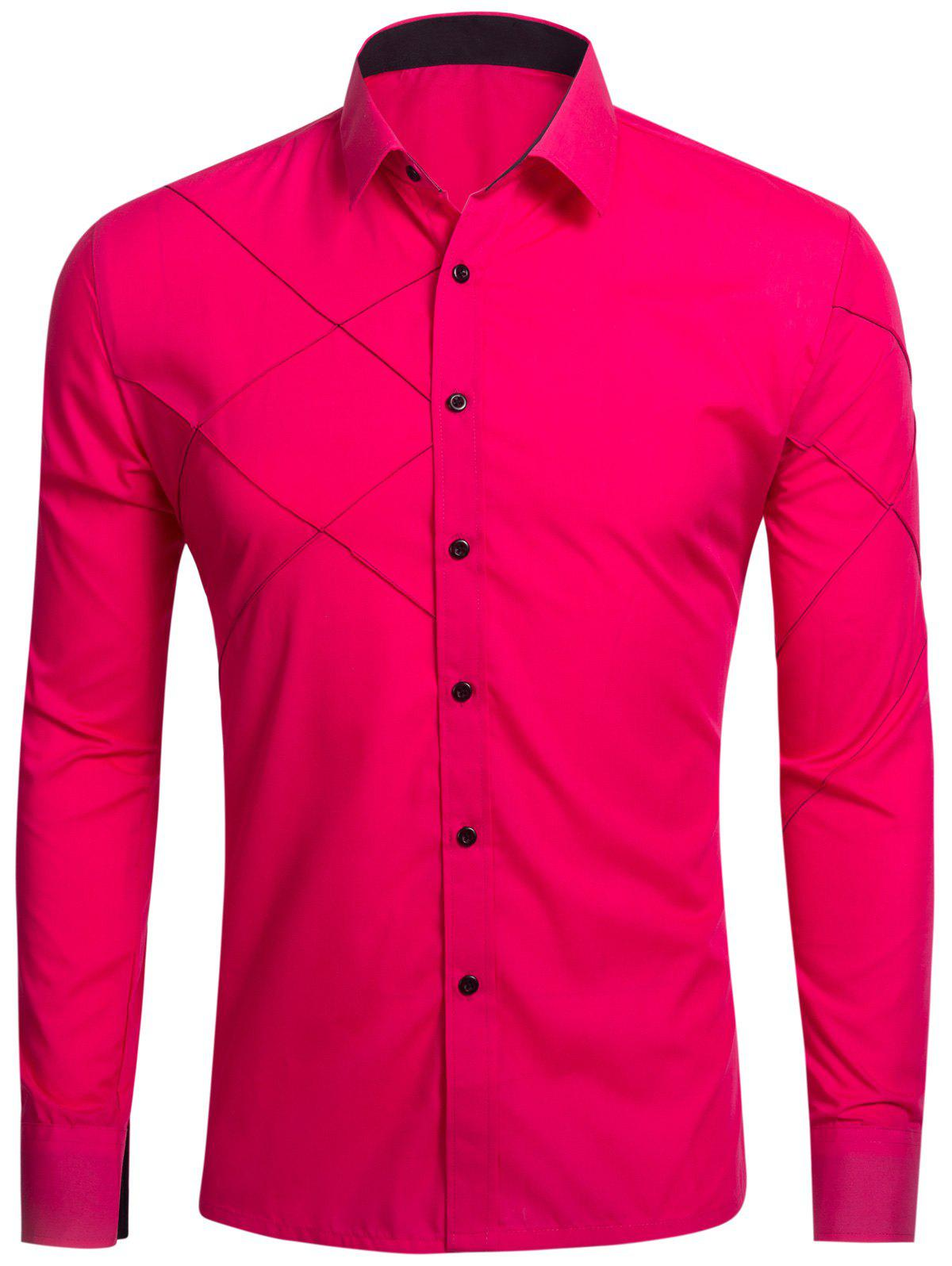 Piquez à manches longues Button Up Shirt - Rose Rouge 2XL